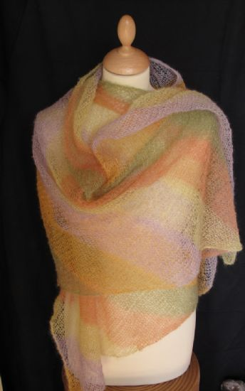 Diagonal mohair shawl kits
